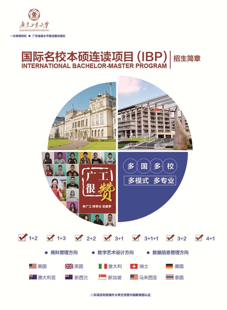 2021年广东工业大学国际名校本科本硕专业招生简章