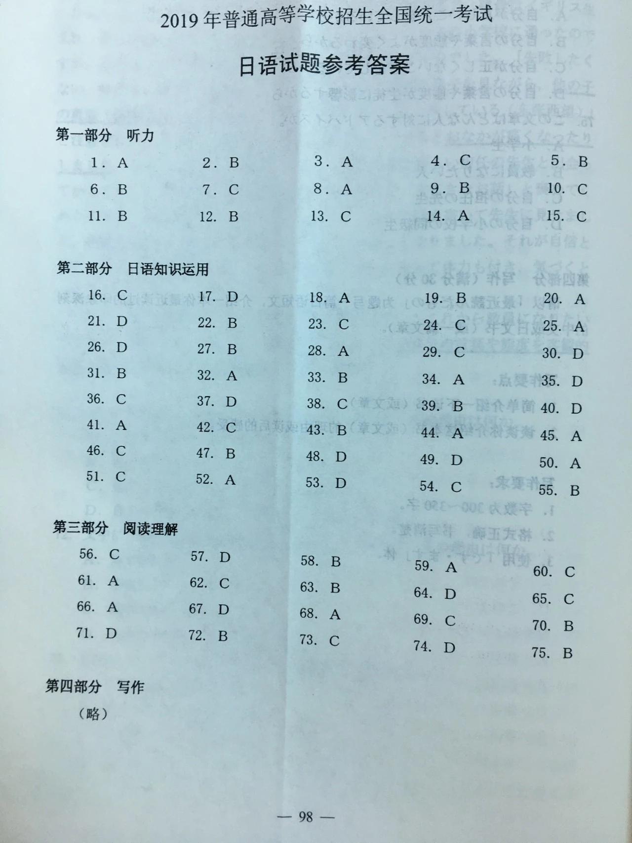 2019年高考全国卷1卷标准答案日语卷